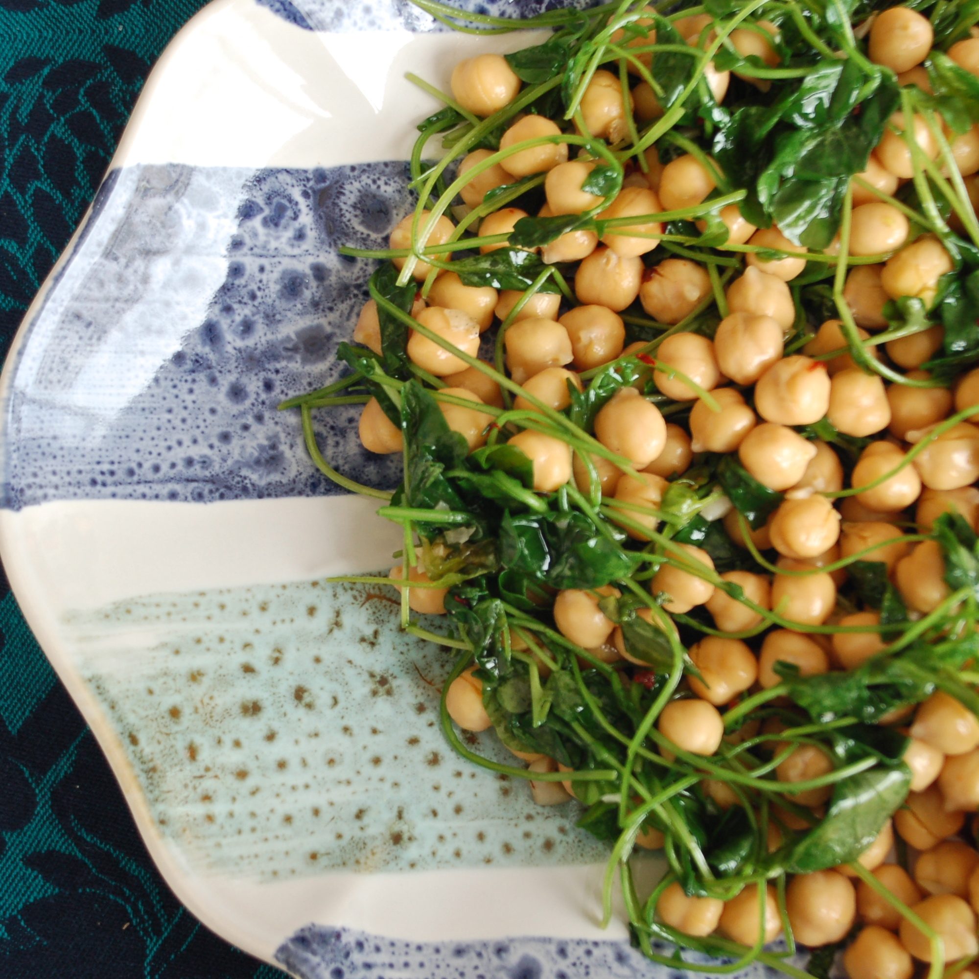 chickpea & watercress greens salad, vegan // inmbowl.com