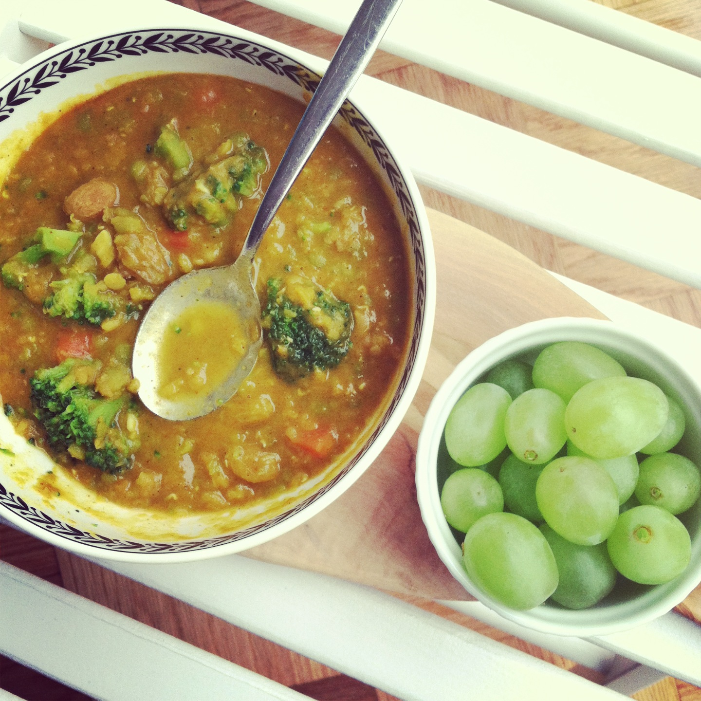 vegan curried coconut, split pea & red lentil stew