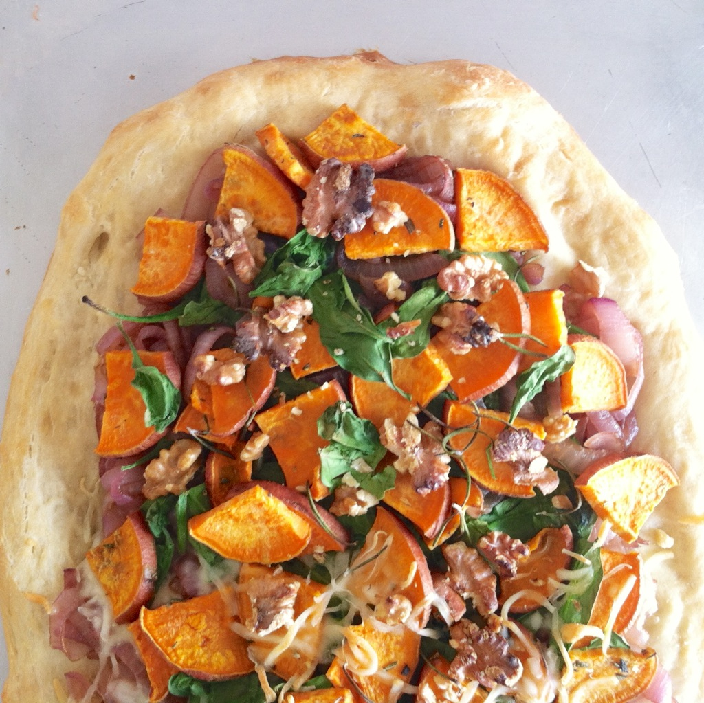 caramelized onion sweet potato flat bread