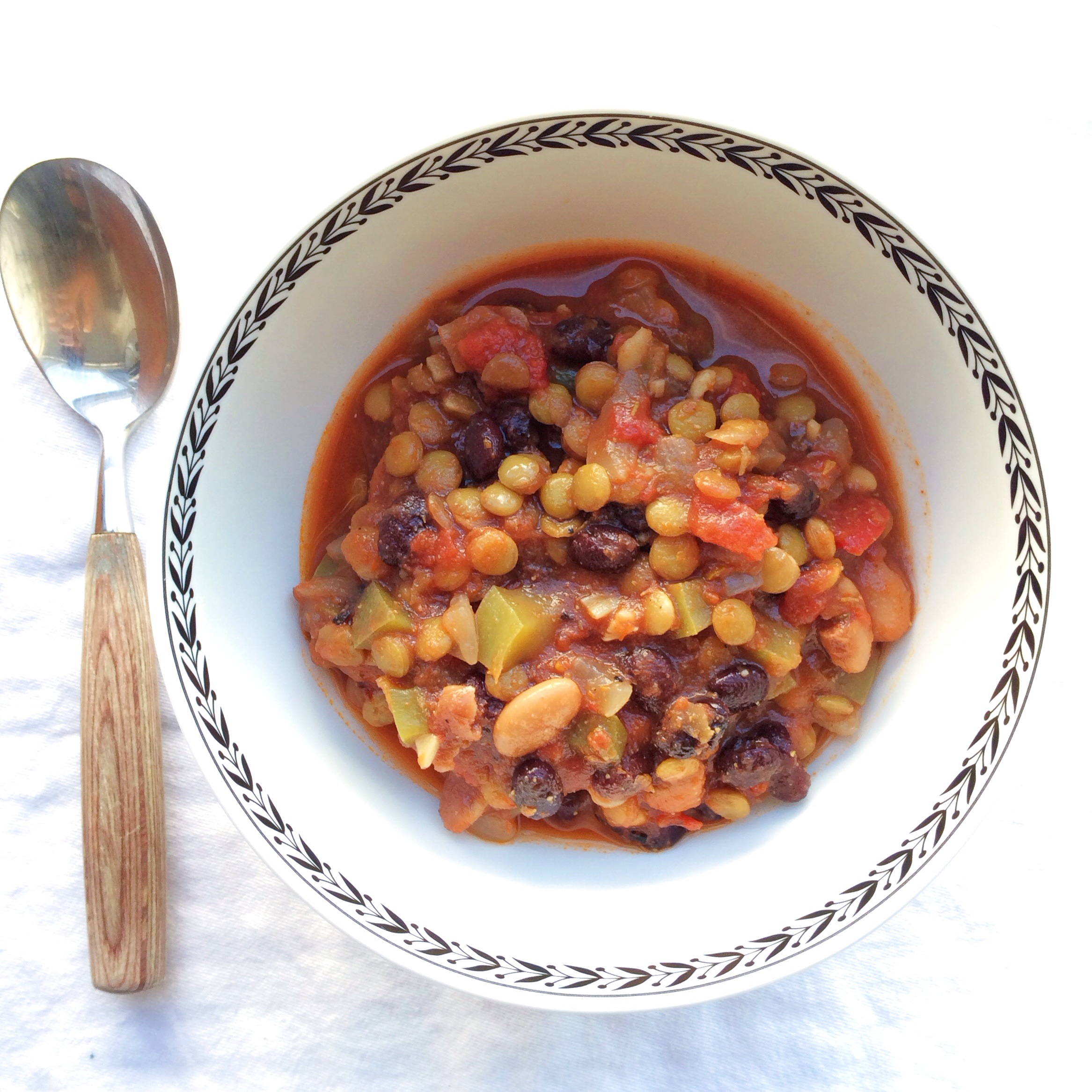 vegan fire roasted green lentil and bean chili