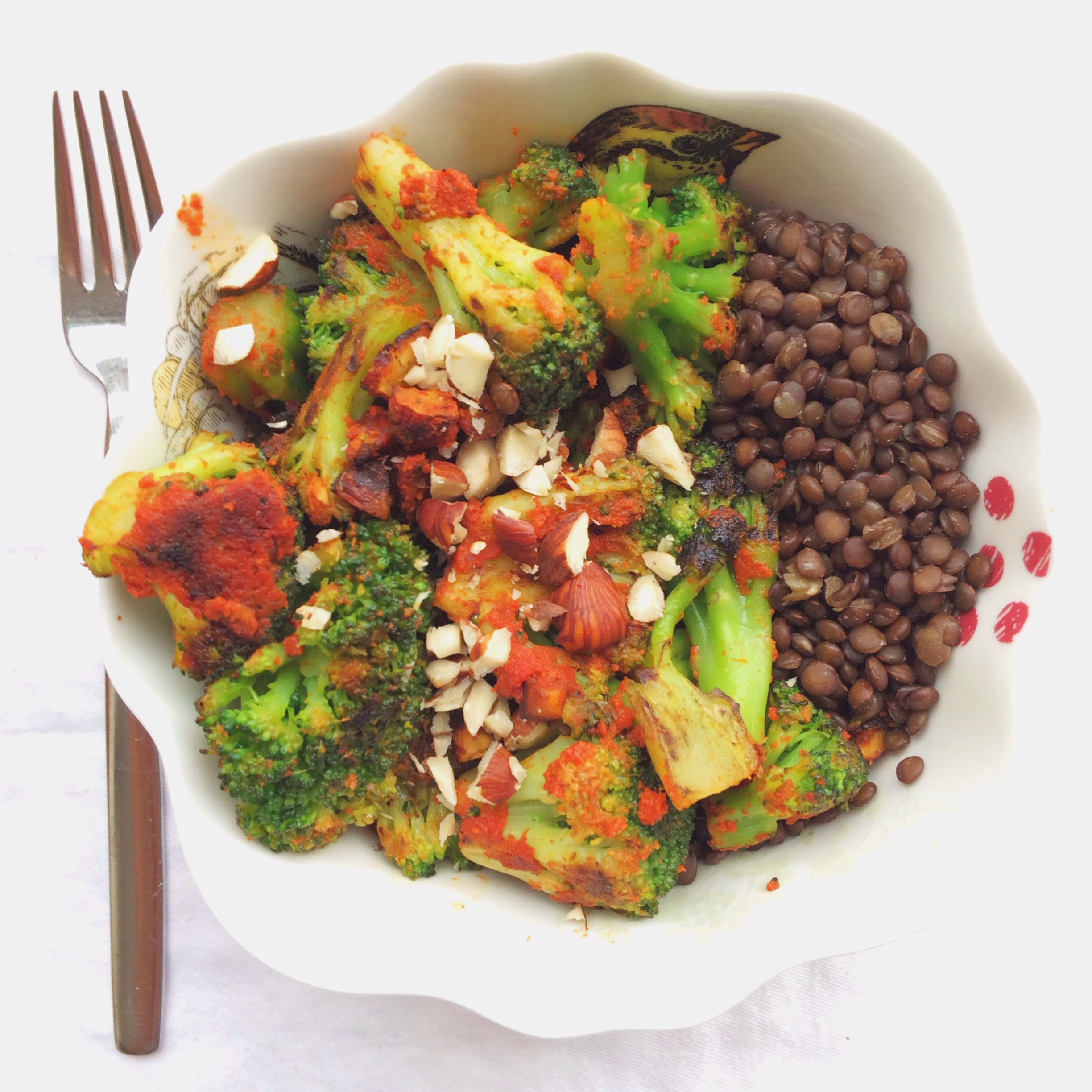 Vegan Red Curried Broccoli with Hazelnuts
