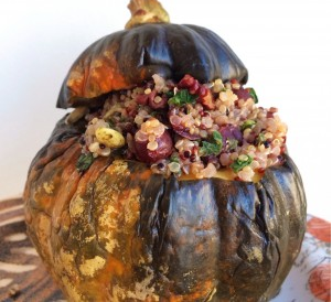 Acorn Squash Stuffed with cranberry, pecan and kale tricolor quinoa, vegan // inmybowl.com