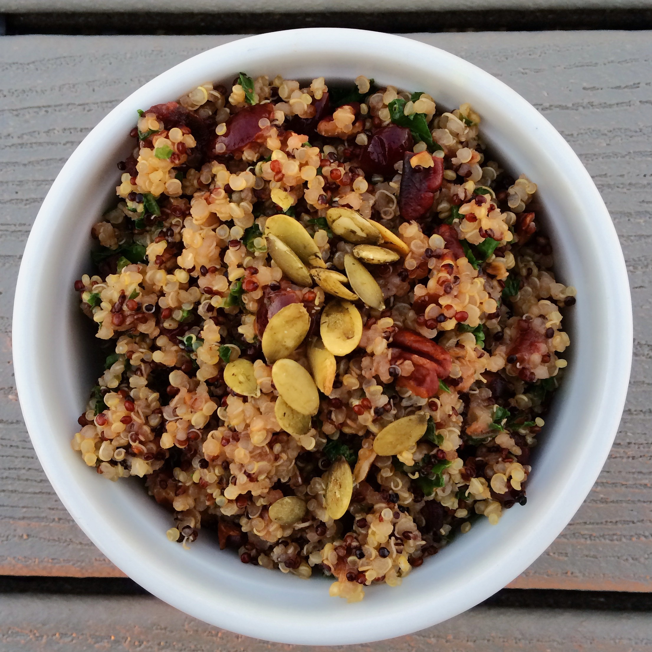 vegan cranberry, pecan and kale tricolor quinoa, thanksgiving recipe l in my bowl