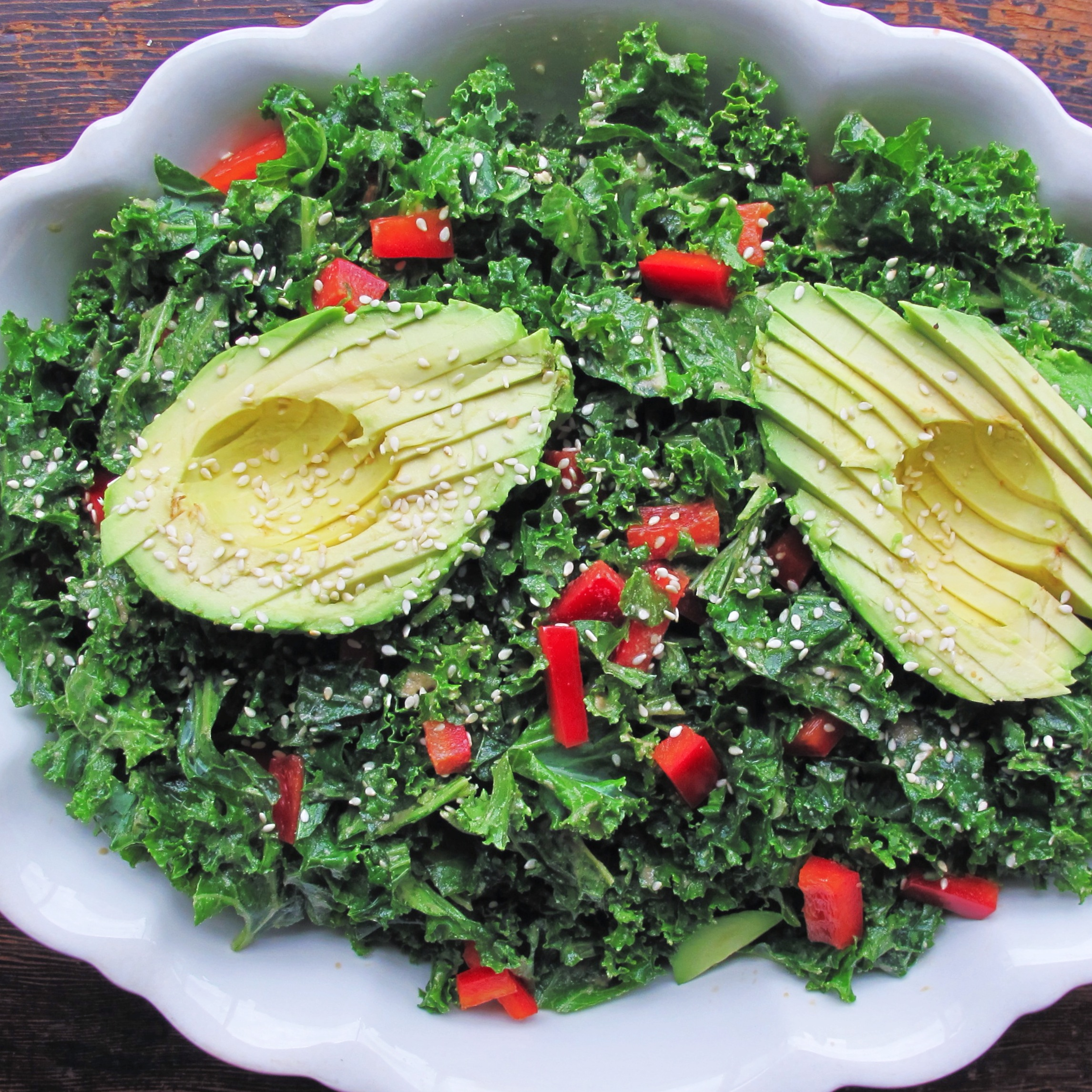 Cleansing Massaged Kale Salad with Lemon Tahini Dressing: raw, vegan ...