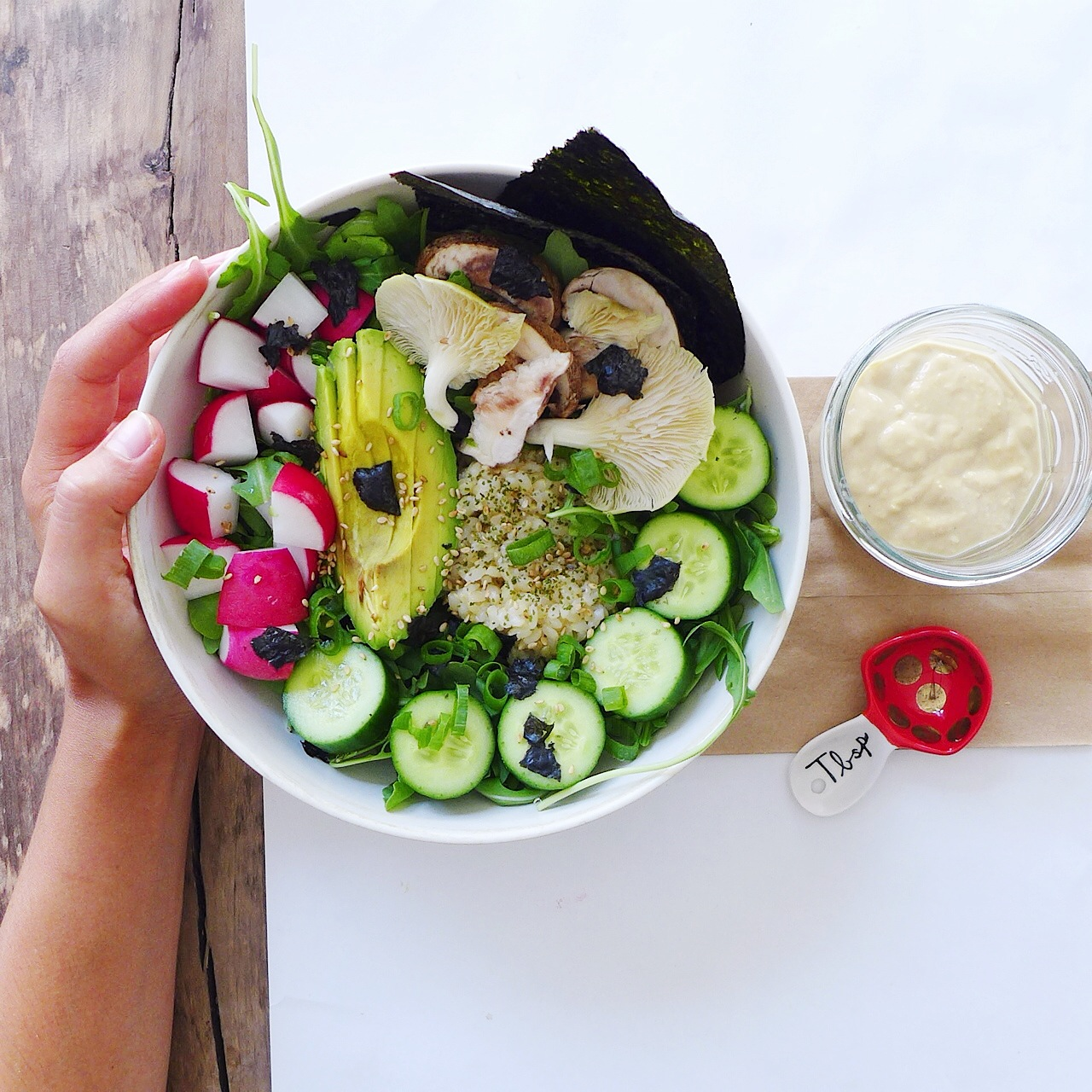 Deconstructed Vegetable Sushi Bowl + Miso Tahini Dressing - In My Bowl