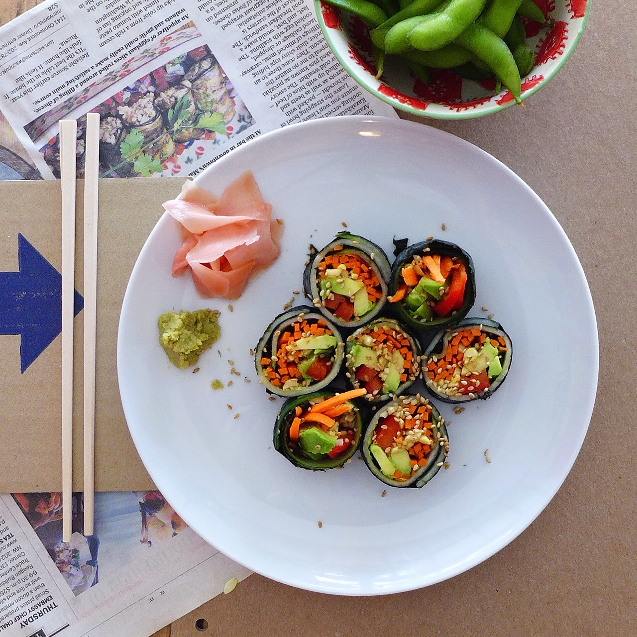Raw Crunchy Rainbow Roll, vegetable sushi (raw, vegan) // INMYBOWL.com