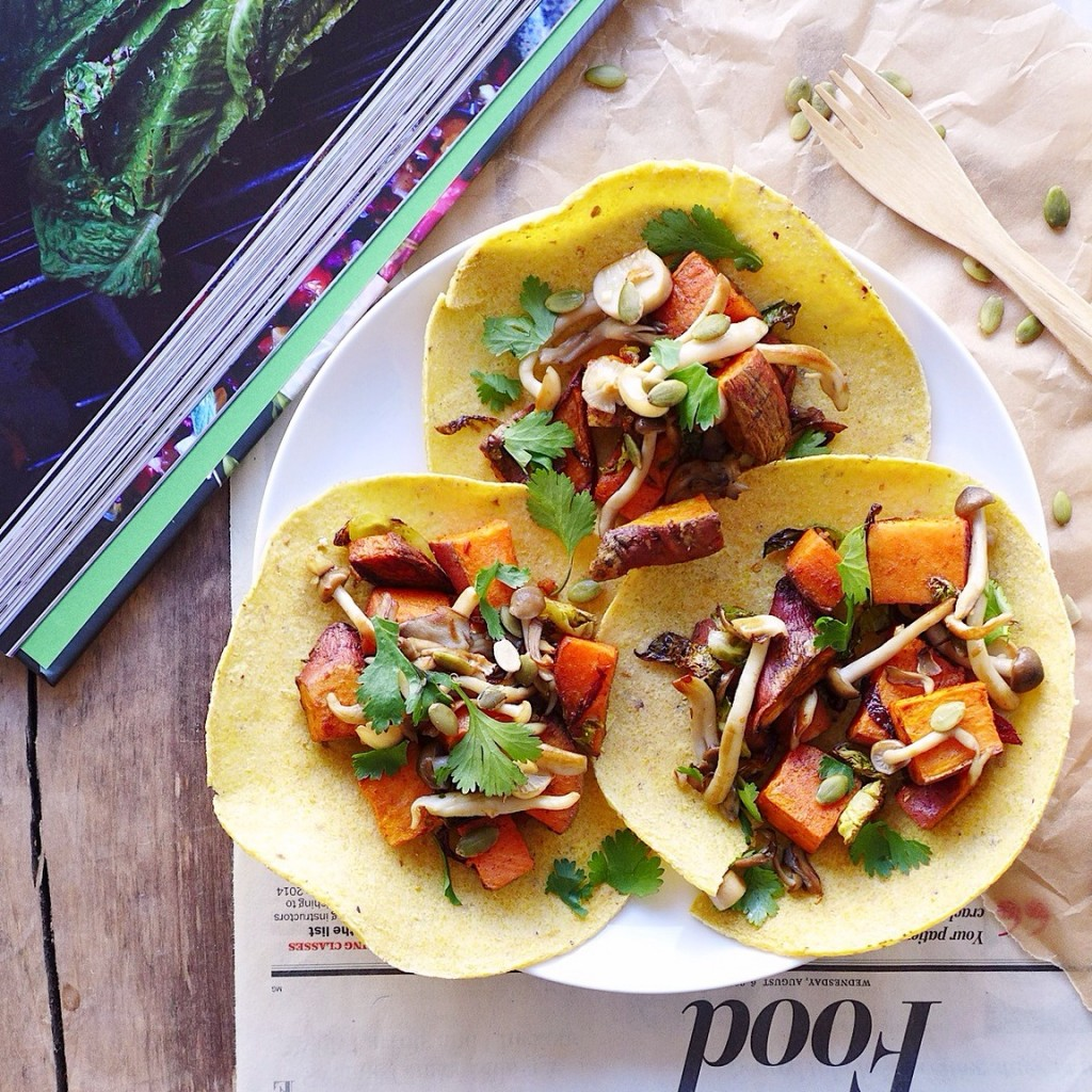 [eat your vegetables!] sweet potato and mushroom tacos with cinnamon, cumin, & brussels sprouts (vegan) // inmybowl.com