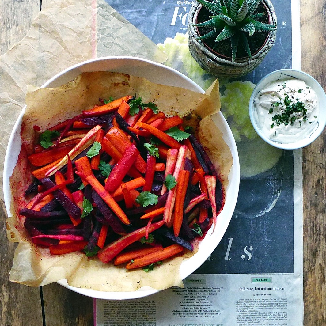 Honey-Roasted Root Vegetables with Tahini Yogurt (vegan) // inmybowl,com