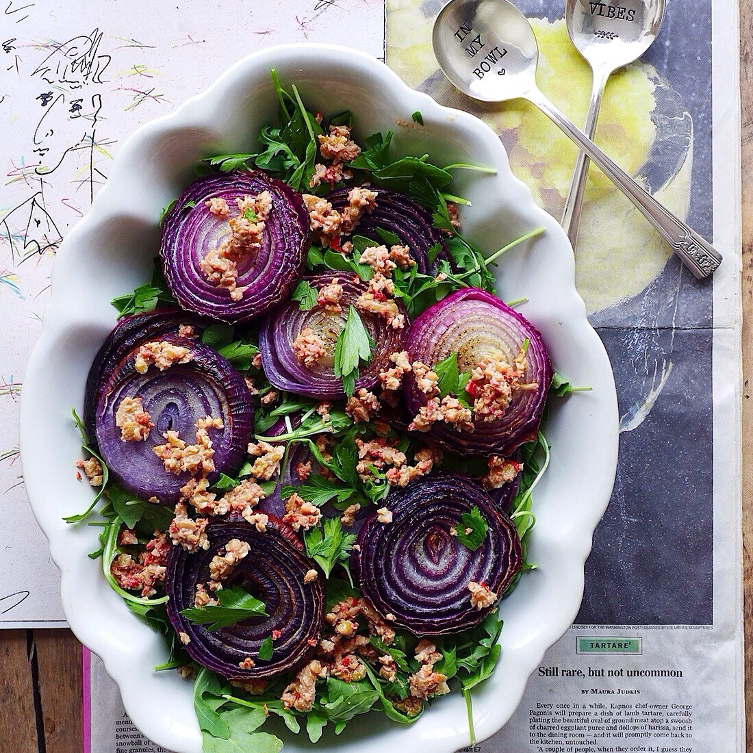 roasted red onion salad with cherry pepper walnut salsa (#vegan) // inmybowl.com