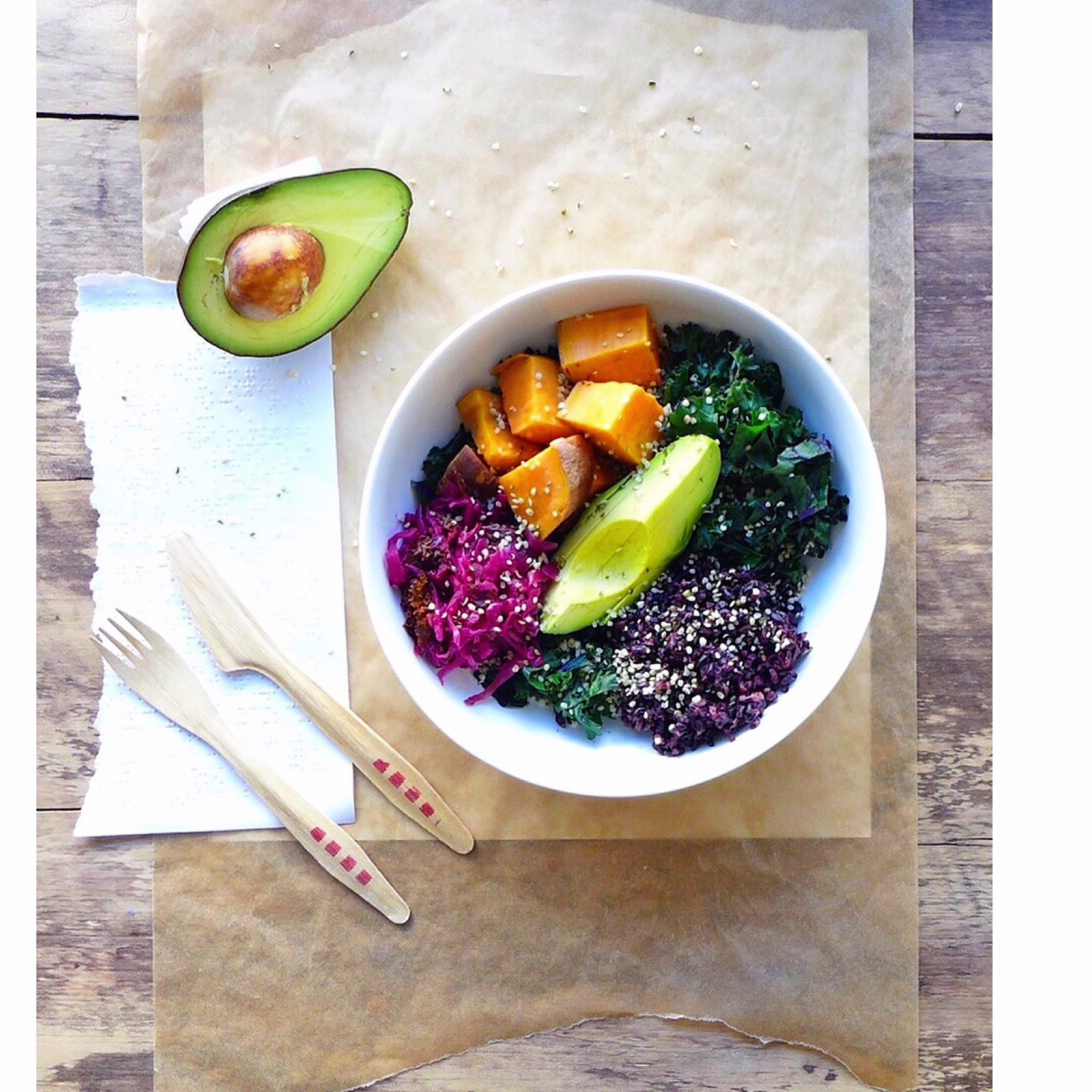 Winter Rainbow Buddha Bowl with black rice, leafy greens, sweet potato, avocado & kraut, #vegan // inmybowl.com