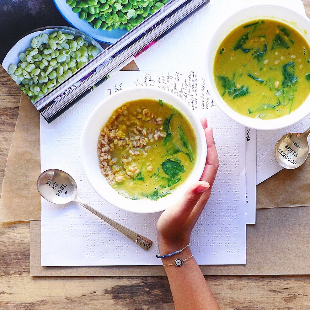 Curried Red Lentil and Farro Soup, #vegan // inmybowl.com