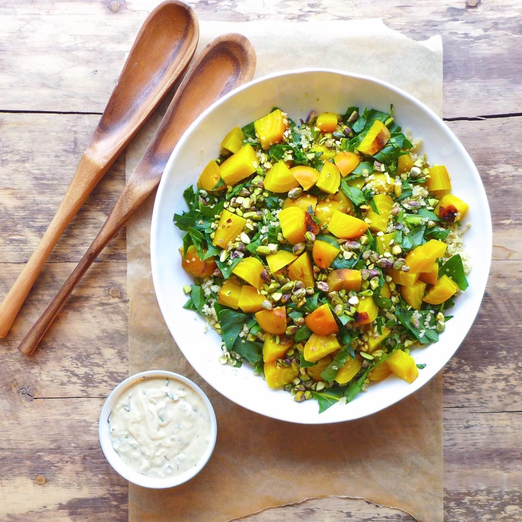 Roasted Golden Beet and Pistachio Quinoa Salad with Tahini Mint Dressing , #vegan // inmybowl.com