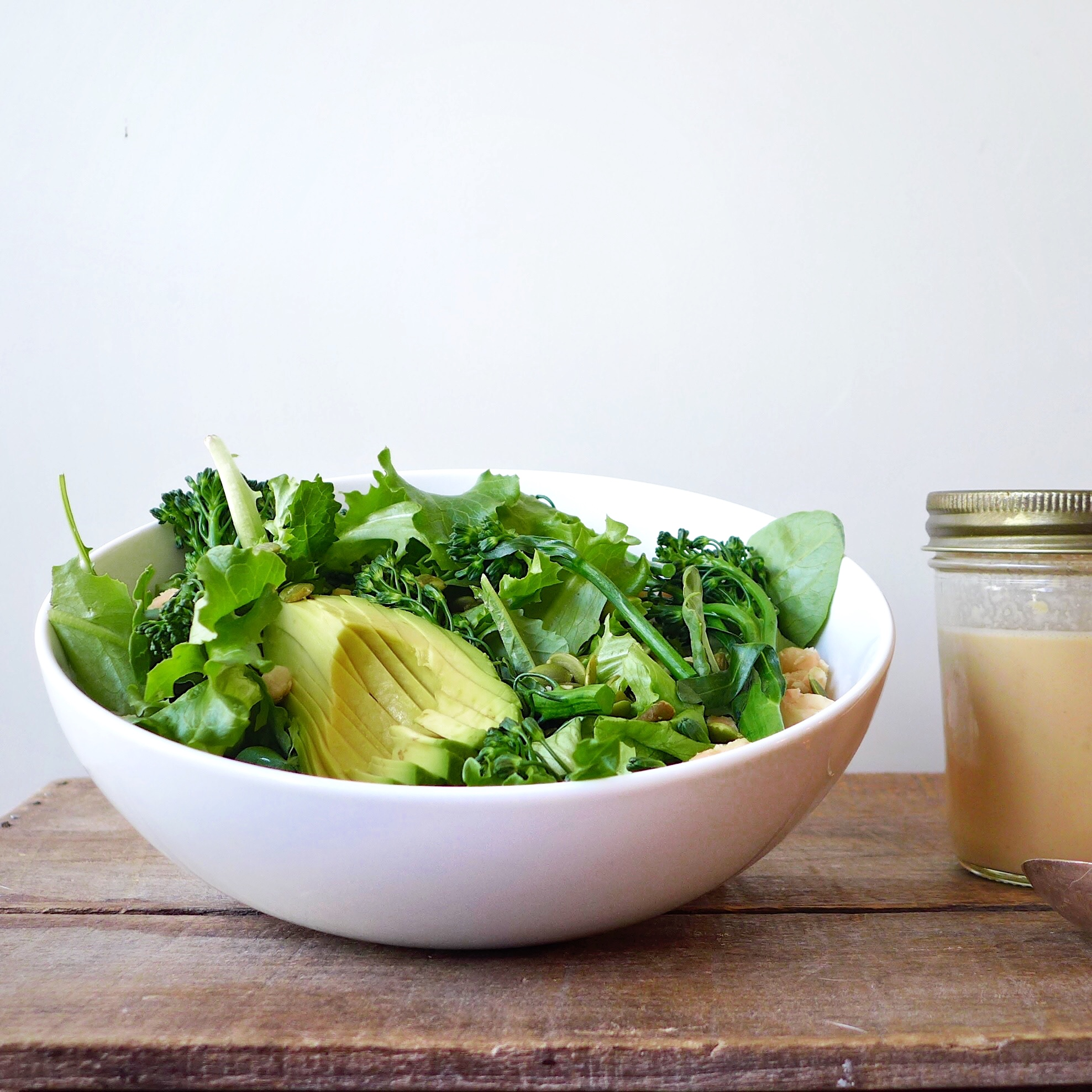 Crispy White Bean and Avocado Salad with Miso Tahini Dressing, #vegan // inmybowl.com