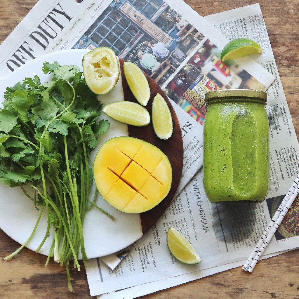 raw + vegan green mango smoothie with lime, cilantro & coconut // inmybowl.com