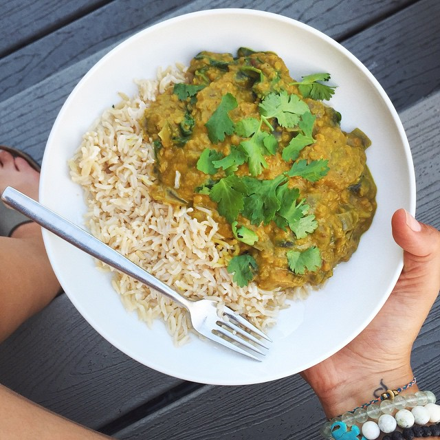 Crispy Potato Vegan Red Lentil Dal  Recipe // inmybowl.com