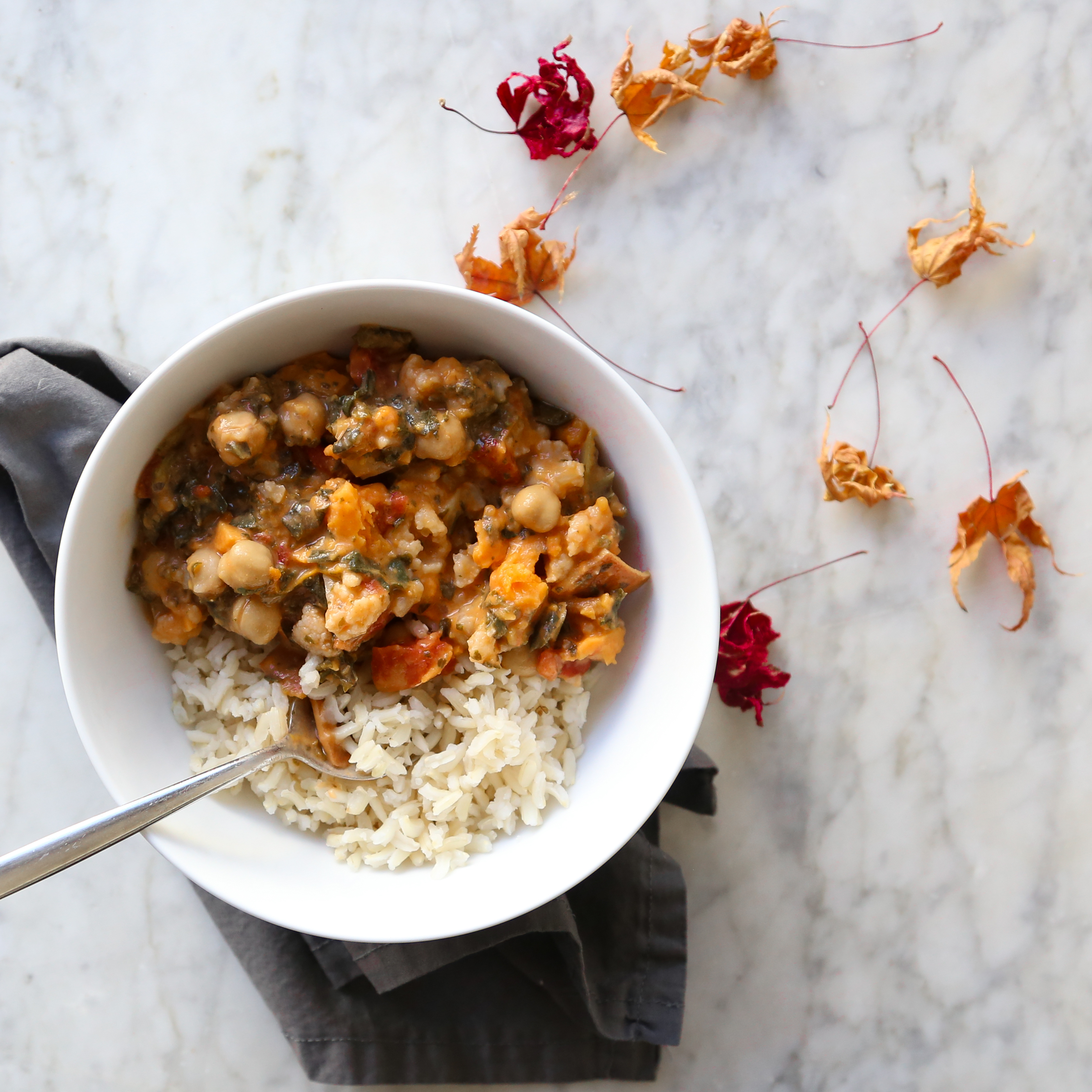 Vegan Coconut Confetti Thai Curry  Recipe with Cauliflower, Chickpeas, and Sweet Potato // inmybowl.com