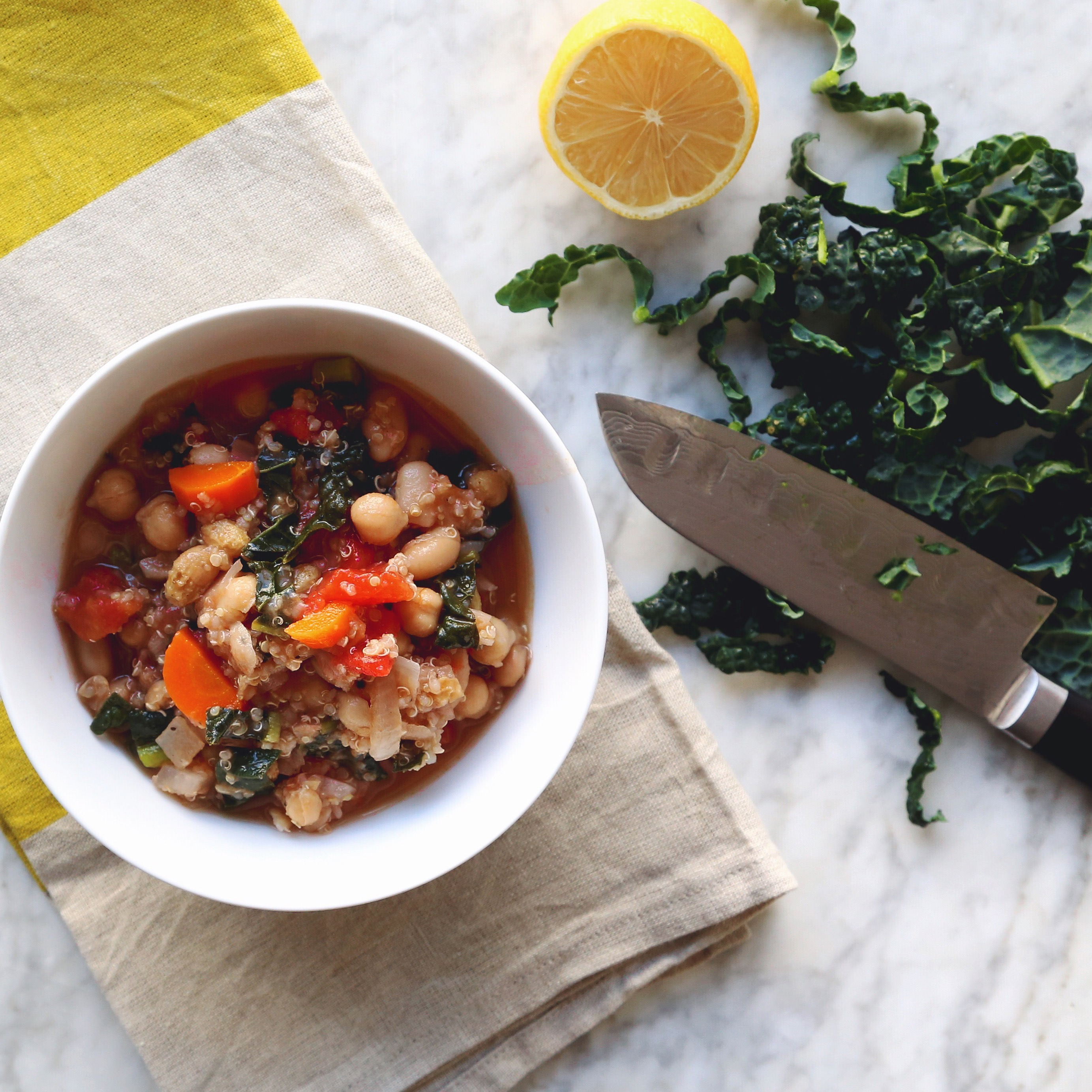 plant based + vegan Chickpea, Tomato and Quinoa Stew with Cinnamon and Golden Raisins recipe // inmybowl.com