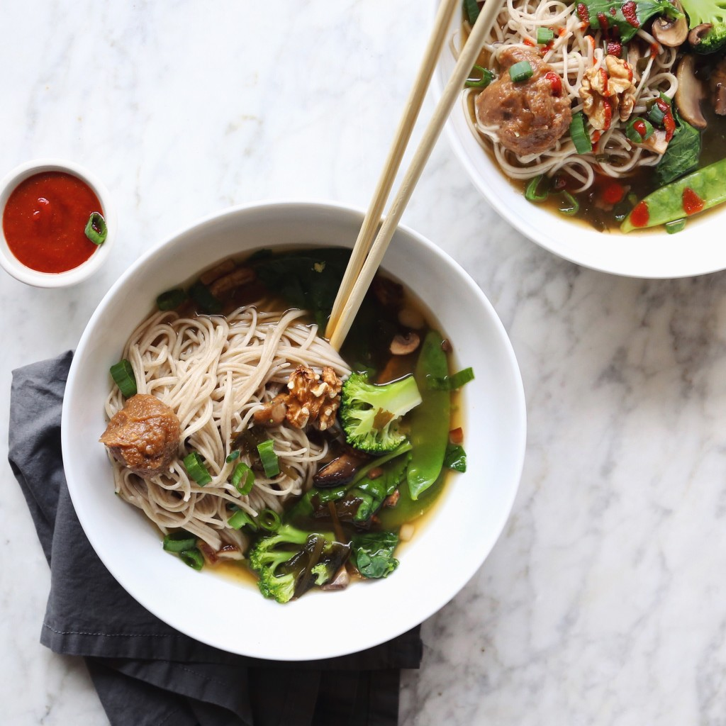 Green Vegetable and Walnut Miso Soup with Soba Noodles recipe, inmybowl.com