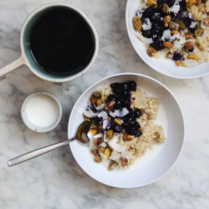 Creamy Quinoa Porridge with Blueberry Compote