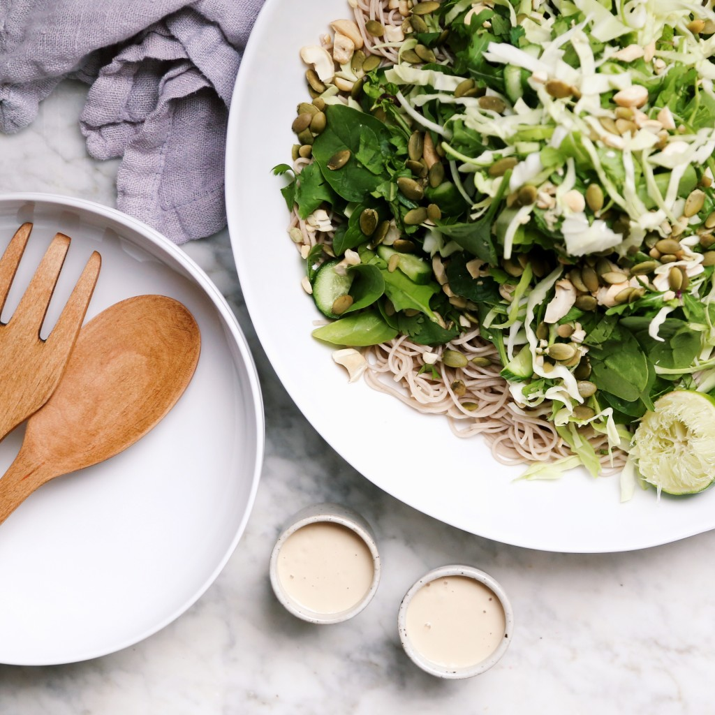 Soba Noodles with Green Crunch Salad Recipe - green soba noodle salad with fresh cilantro, mint, and an almond butter sauce // inmybowl.com