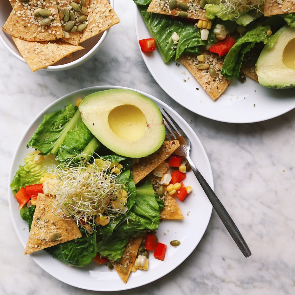 Wild Summer Salad // romaine salad with sweet yellow corn, corn tortilla chips, pumpkin and hemp seeds, and ripe avocado // inmybowl.com