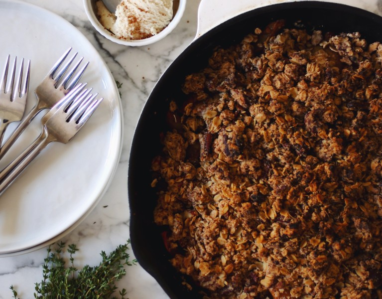 Pear Skillet Crumble with Thyme and Ginger recipe, plant based + vegan // Alexandra Tallulah, inmybowl.com