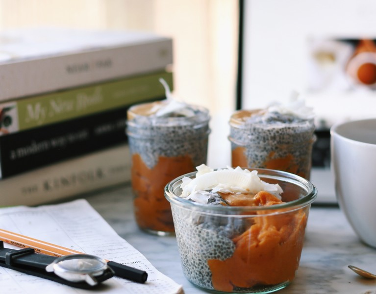 Maple Spiced Sweet Potato Chia Pudding Pots -plant based + vegan recipe // Alexandra Tallulah, inmybowl.com