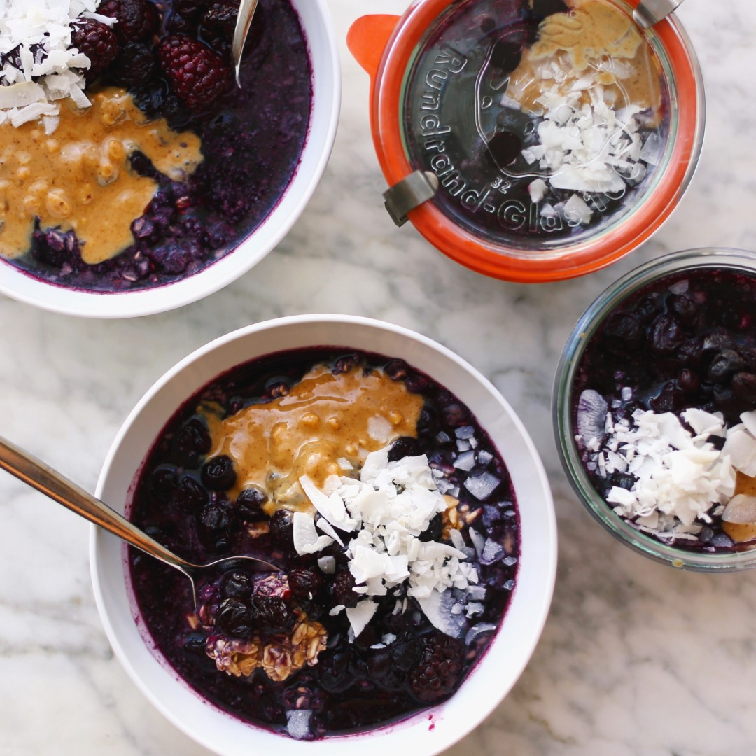 cacao blueberry overnight oats