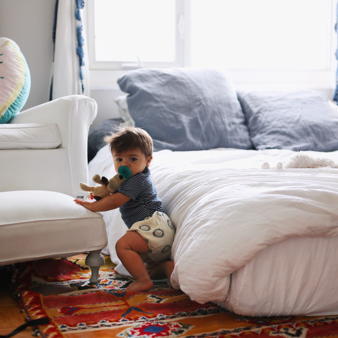 minimal apartment with baby