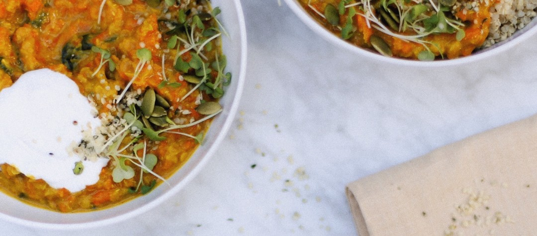 Quick Carrot Dhal recipe - vegan + low fodmap curry // Alexandra Tallulah, inmybowl.com